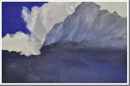 Wolke am Berg, Aquarell, 2011, 55/88 cm